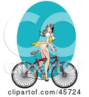 Royalty Free RF Clipart Illustration Of A Sexy Pinup Woman In A Dress Showing Her Long Legs And Riding A Bike