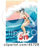Royalty Free RF Clipart Illustration Of A Surfing Woman Riding Inside A Curling Ocean Wave by r formidable