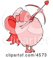 Anthropomorphic Valentines Day Cupid Sheep With Angel Wings  Bow An Arrow