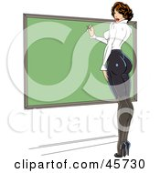 Royalty Free RF Clipart Illustration Of A Sexy Pinup Female Teacher Wearing Tight Clothes And Writing On A Chalk Board by r formidable #COLLC45730-0131