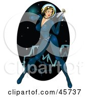 Royalty Free RF Clipart Illustration Of A Sexy Pinup Woman In A Space Suit Holding A Ray Gun