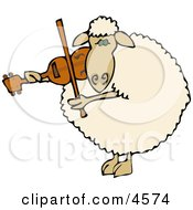 Anthropomorphic Sheep Violinist Playing A Violin Clipart