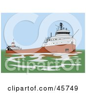 Royalty Free RF Clipart Illustration Of A Great Lakes Freighter Ship In Green Waters