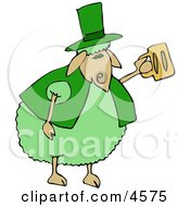 Green Anthropomorphic Sheep Drinking Beer On St Patricks Day Clipart