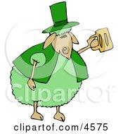 Green Anthropomorphic Sheep Drinking Beer On St Patricks Day