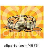 Royalty Free RF Clipart Illustration Of Syrup And Melted Butter Topping A Stack Of Pancakes by r formidable