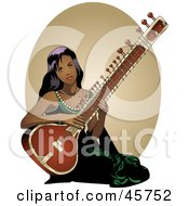 Royalty Free RF Clipart Illustration Of A Pretty Indian Woman Playing A Sitar Instrument