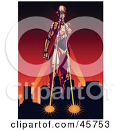 Royalty Free RF Clipart Illustration Of A Strong Female Robot Attacking A City With Ray Eyes Against A Red Sunset