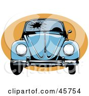 Royalty Free RF Clipart Illustration Of A Blue Slug Bug With A Shattered Windshield