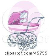 Girls Pink Baby Stroller Or Pram