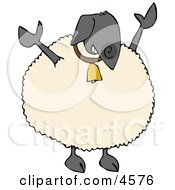 Anthropomorphic Black Sheep Wearing Bling Bling Gold Bell Around His Neck Clipart