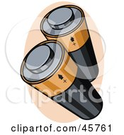 Royalty Free RF Clipart Illustration Of Two Black And Gold Batteries