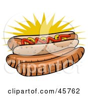 Royalty Free RF Clipart Illustration Of Two Weenies Resting Beside A Garnished Hot Dog In A Bun