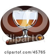 Royalty Free RF Clipart Illustration Of A Cigar Resting In Front Of A Glass Of Liquor