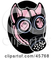 Royalty Free RF Clipart Illustration Of A Pink Pig Wearing A Gas Mask On His Face