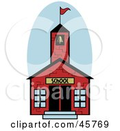 Royalty Free RF Clipart Illustration Of A Red One Room Brick School House With A Bell Tower And Flag