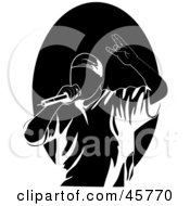 Royalty Free RF Clipart Illustration Of A Performing Male Rapper Or Hip Hop Artist Singing Into A Microphone by r formidable #COLLC45770-0131