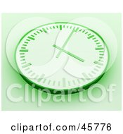 Green Wall Clock With Shading On A White Background