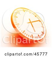Royalty Free RF Clipart Illustration Of An Orange Wall Clock With Shading On A White Background