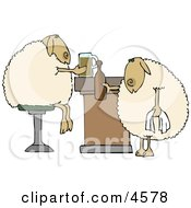 Anthropomorphic Sheep Drinking Beer Together In A Bar Clipart