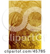 Royalty Free RF Clipart Illustration Of A Vertical Background Of Brown Yellow And Orange Swirls Circles And Plant Tendrils