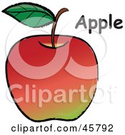 Royalty Free RF Clipart Illustration Of An Organic Red Apple With A Stem Leaf And Text