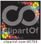 Royalty Free RF Clipart Illustration Of A Black Background Bordered With Colorful Summer Flower Corners by Pams Clipart