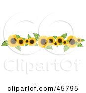 Royalty Free RF Clipart Illustration Of A Border Or Header Of Yellow Sunflowers And Leaves