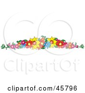 Royalty Free RF Clipart Illustration Of A Border Or Header Of Colorful Summer Flowers by Pams Clipart