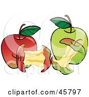 Royalty Free RF Clipart Illustration Of Devoured Cores In Front Of Red And Green Organic Apples