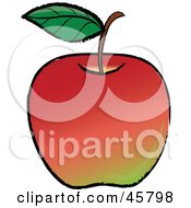 Royalty Free RF Clipart Illustration Of A Single Leaf On The Stem Of An Organic Red Apple