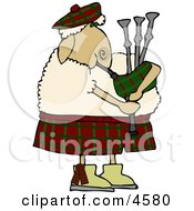 Scottish Anthropomorphic Sheep Playing A Bagpipe Clipart