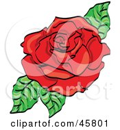Royalty Free RF Clipart Illustration Of A Fully Bloomed Red Rose Blossom With Leaves