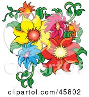 Royalty Free RF Clipart Illustration Of A Cluster Of Fresh Colorful Summer Flowers And Stems