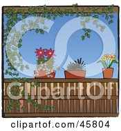 Royalty Free RF Clipart Illustration Of An Ivy Vine Framing A Scene Of Potted Plants On A Patio Railing