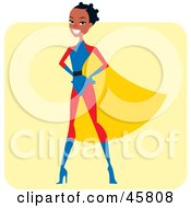 Royalty Free RF Clipart Illustration Of A Proud African Super Hero Woman In A Cape