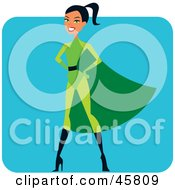 Royalty Free RF Clipart Illustration Of A Proud Hispanic Super Hero Woman In A Green Suit