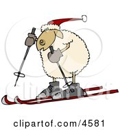 Anthropomorphic Sheep Snow Skiing Clipart