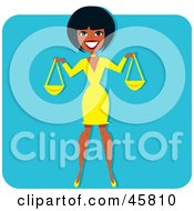 Royalty Free RF Clipart Illustration Of A Black Woman Holding Scales Or Bags by Monica