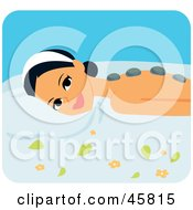 Royalty Free RF Clipart Illustration Of A Relaxed Woman Getting A Hot Stone Massage by Monica