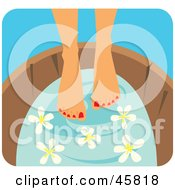 Royalty Free RF Clipart Illustration Of A Woman Soaking Her Pedicured Feet In A Tub