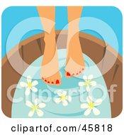 Woman Soaking Her Pedicured Feet In A Tub