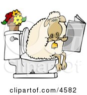 Anthropomorphic Sheep Going Poop In A Human Toilet And Is Reading A Newspaper