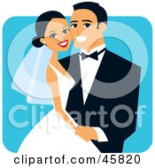 Royalty Free RF Clipart Illustration Of A Happy Hispanic Bride And Groom Posing For A Portrait by Monica