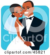 Royalty Free RF Clipart Illustration Of A Happy African American Bride And Groom Posing For A Portrait
