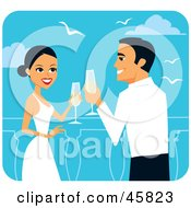 Royalty Free RF Clipart Illustration Of A Romantic Bride And Groom Toasting With Champagne On Their Honeymoon by Monica