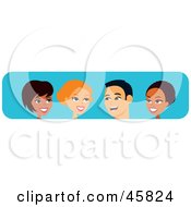 Royalty Free RF Clipart Illustration Of Diverse Black White And Hispanic Men And Women Chatting by Monica