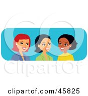 Royalty Free RF Clipart Illustration Of Diverse Caucasian Hispanic And Black Women Talking by Monica