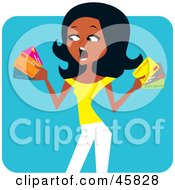 Royalty Free RF Clipart Illustration Of A Stressed Out Black Woman Holding Credit Cards