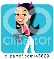 Royalty Free RF Clipart Illustration Of A Sneaky Hispanic Woman With She Devil Horns Shopping With A Credit Card